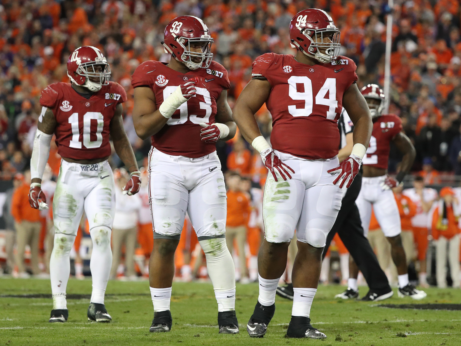 Da'Ron Payne (94) is among the five-stars expected to pick up where 2017 first-round picks Reuben Foster (10) and Jonathan Allen (93) left off on Saban's dominant defense.