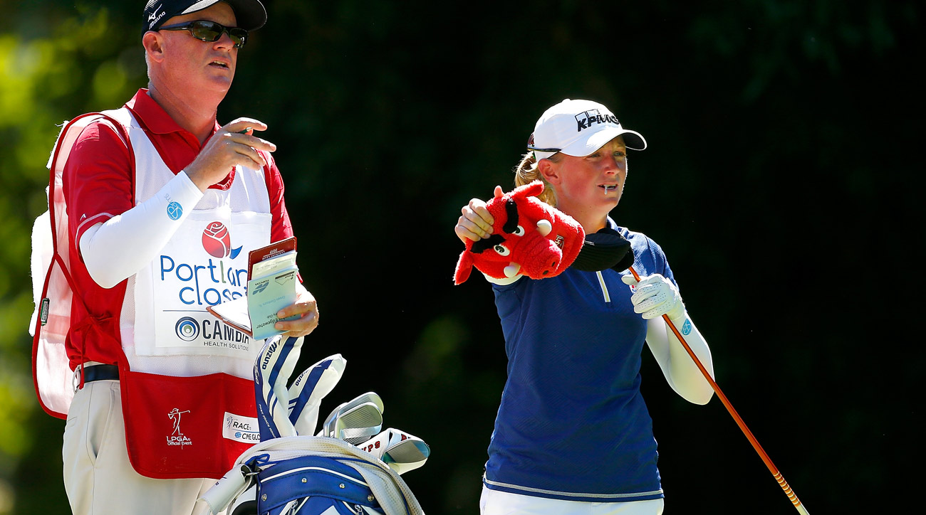 Stacy Lewis prepares to tee off on the 5th hole during the third round of the LPGA Cambia Portland Classic.