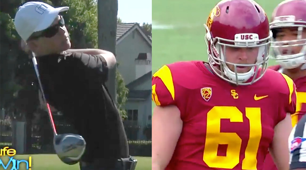 Jake Olson, at 14 (left), was hoping to play on the PGA Tour, but he starred on the football field on Saturday.
