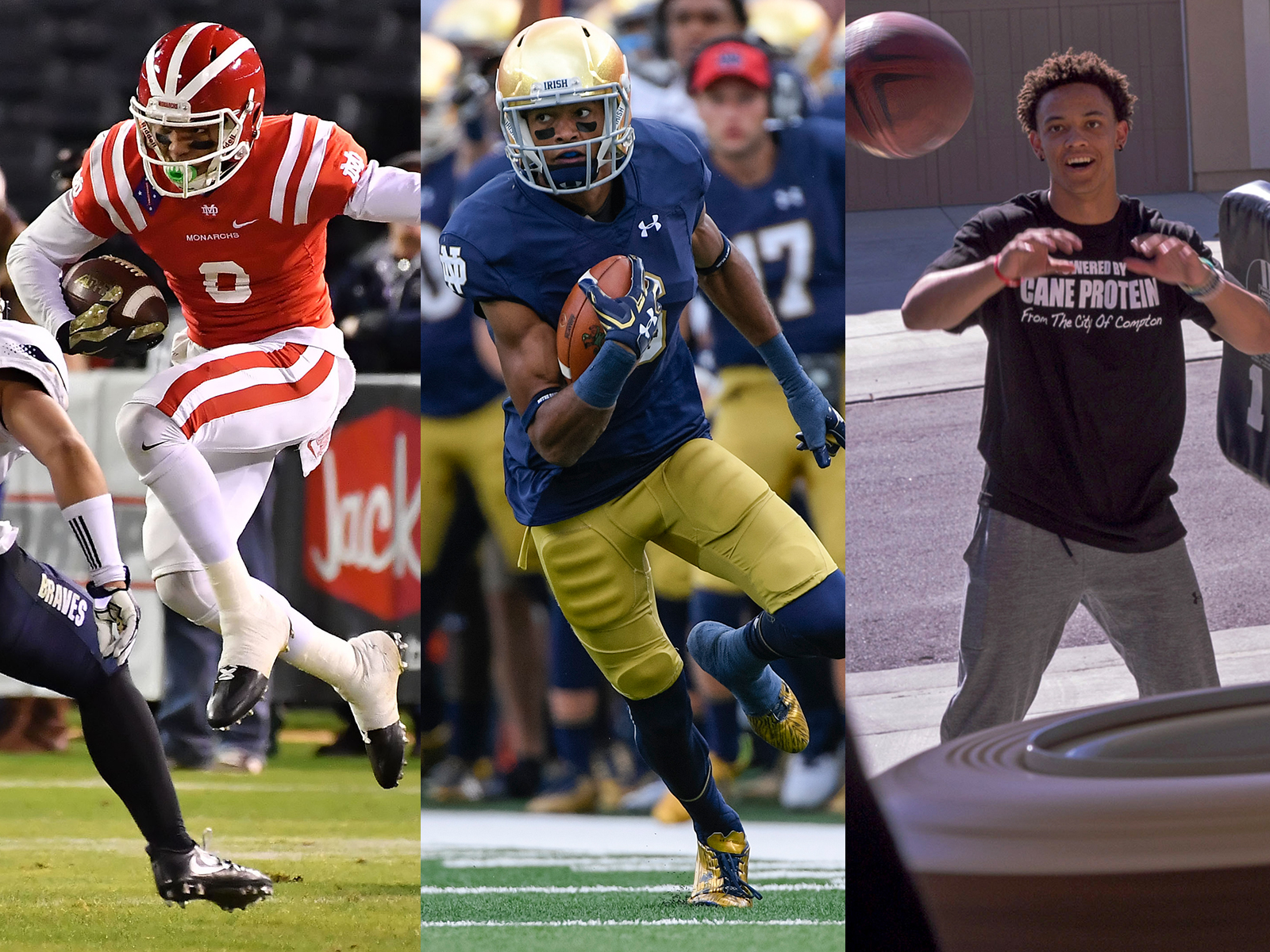 Amon-Ra (left) is a five-star recruit with his choice of top college programs; Equanimeous (center) is Notre Dame's top target, and Osiris (right) chose to play at one of their mother's dream schools, Stanford.
