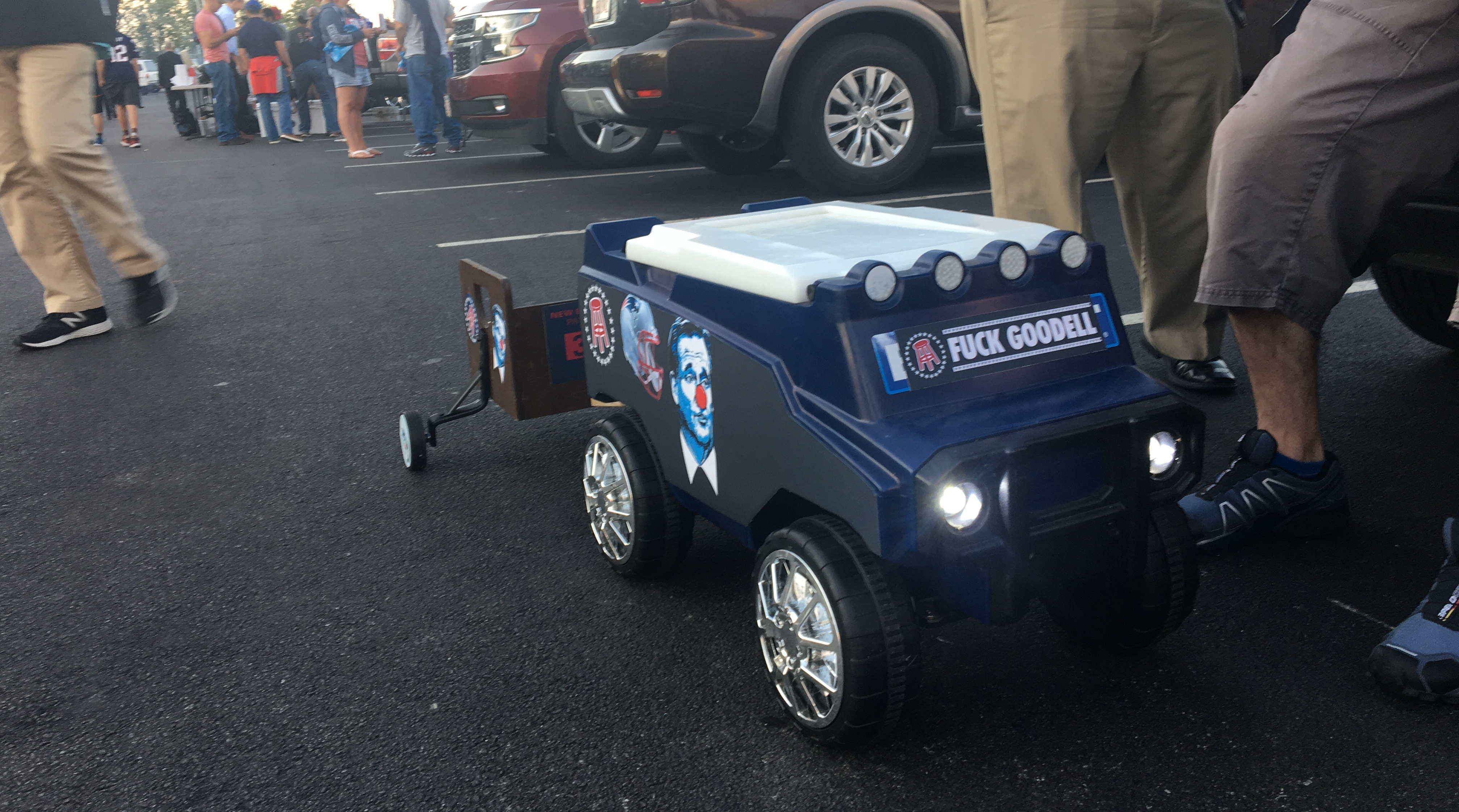 A festive toy truck spotted in the tailgating lots at Gillette Stadium.