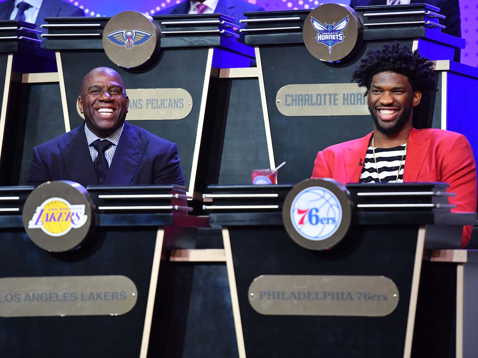 Magic Johnson and Joel Embiid
