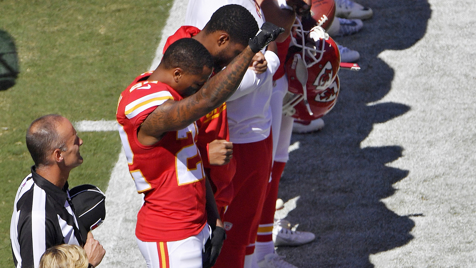 Marcus Peters Chiefs CB sits during national anthem