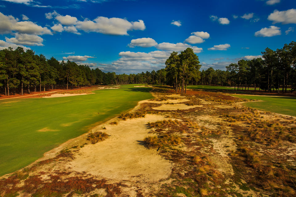 "<p>Pinehurst, N.C, Donald Ross, 1907</p><p>Donald Ross' 108-year-old chef d'oeuvre rolls gently and spaciously through tall Longleaf pines in the Carolina Sandhills, with holes culminating in the legendary ""inverted saucer"" greens that have confounded the game's very best since they were first grassed in 1935.</p>"
