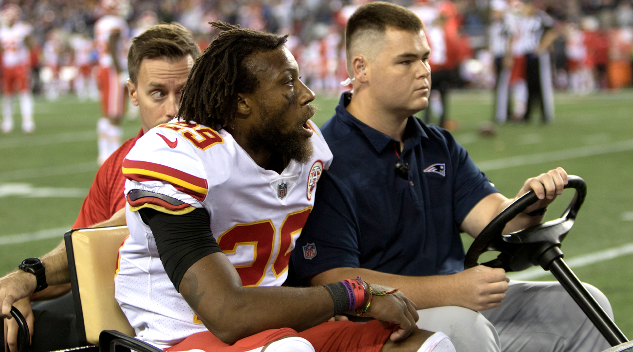 Eric Berry of the Chiefs is carted off at Gillette Stadium after his Achilles injury in the season opener against the Patriots.