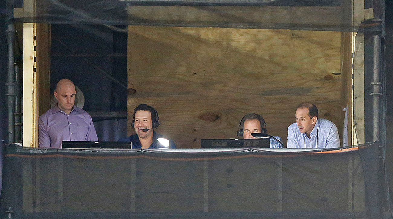 Tony Romo (second from left) debuted as an analyst in the CBS broadcast booth for Sunday's Raiders-Titans game.