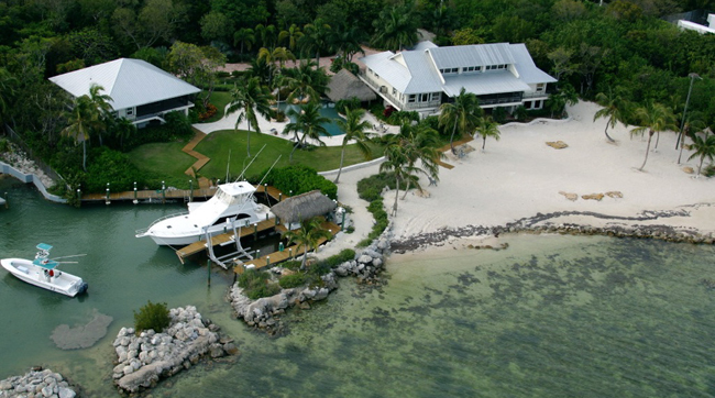 An aerial view of Jimmy Johnson's property in Islamorada before Hurricane Irma hit the Florida Keys.