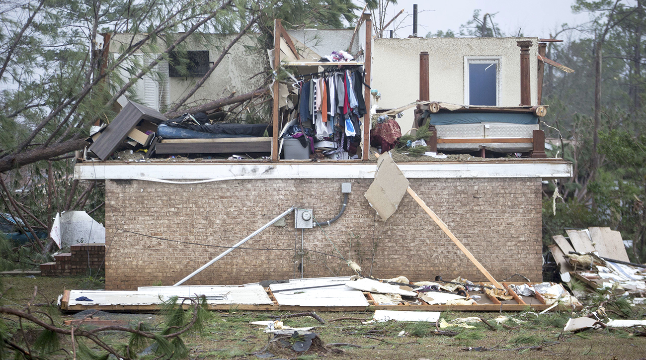 What was left of one house in Albany, Ga. after a tornado ripped through the town.