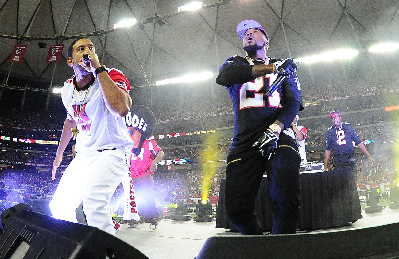 "Young Jeezy (right) and Ludacris opened the final game at the Georgia Dome with ""Welcome to Atlanta."""