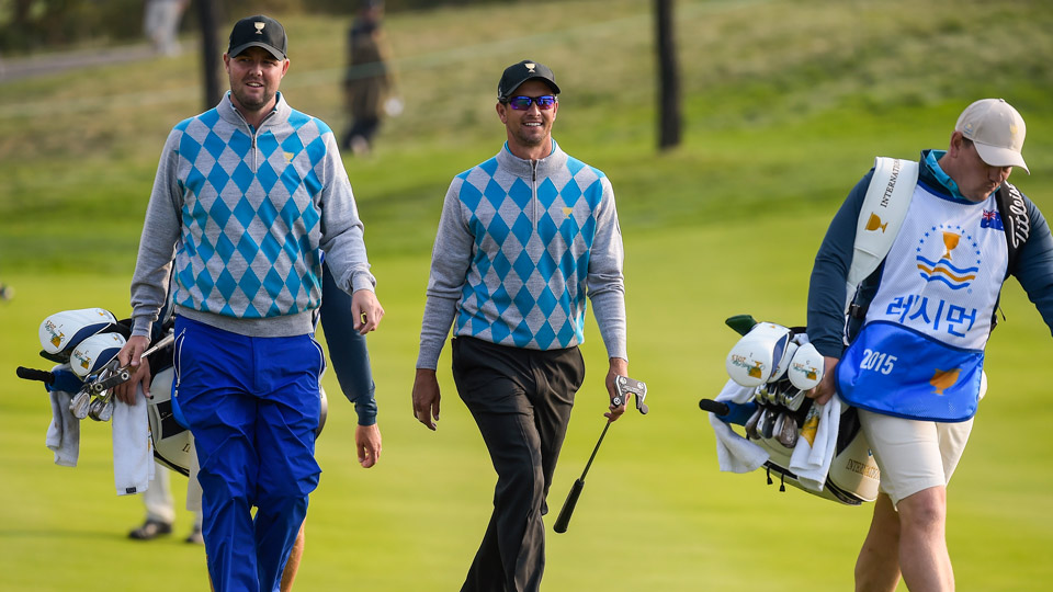 Marc Leishman and Adam Scott are back on the 2017 International team roster. Scott is making his eighth Presidents Cup appaearance, while it will be Leishman's third.