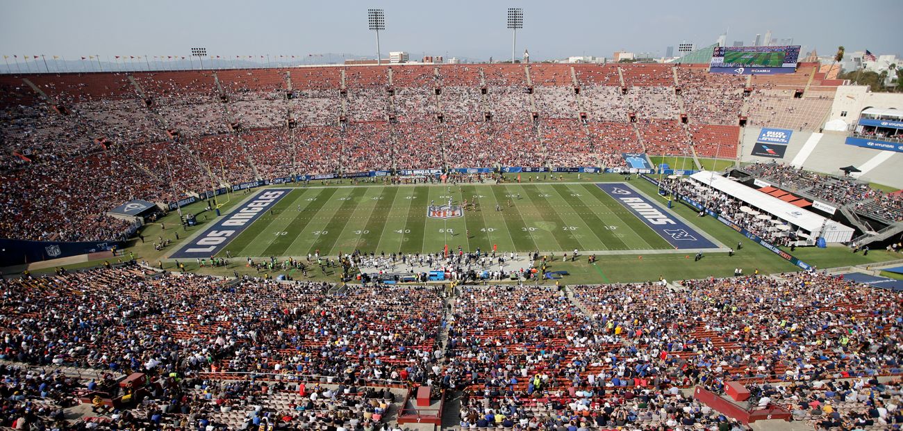 The 90,000-seat Coliseum was around half-full for the Redskins-Rams game in Week 2.