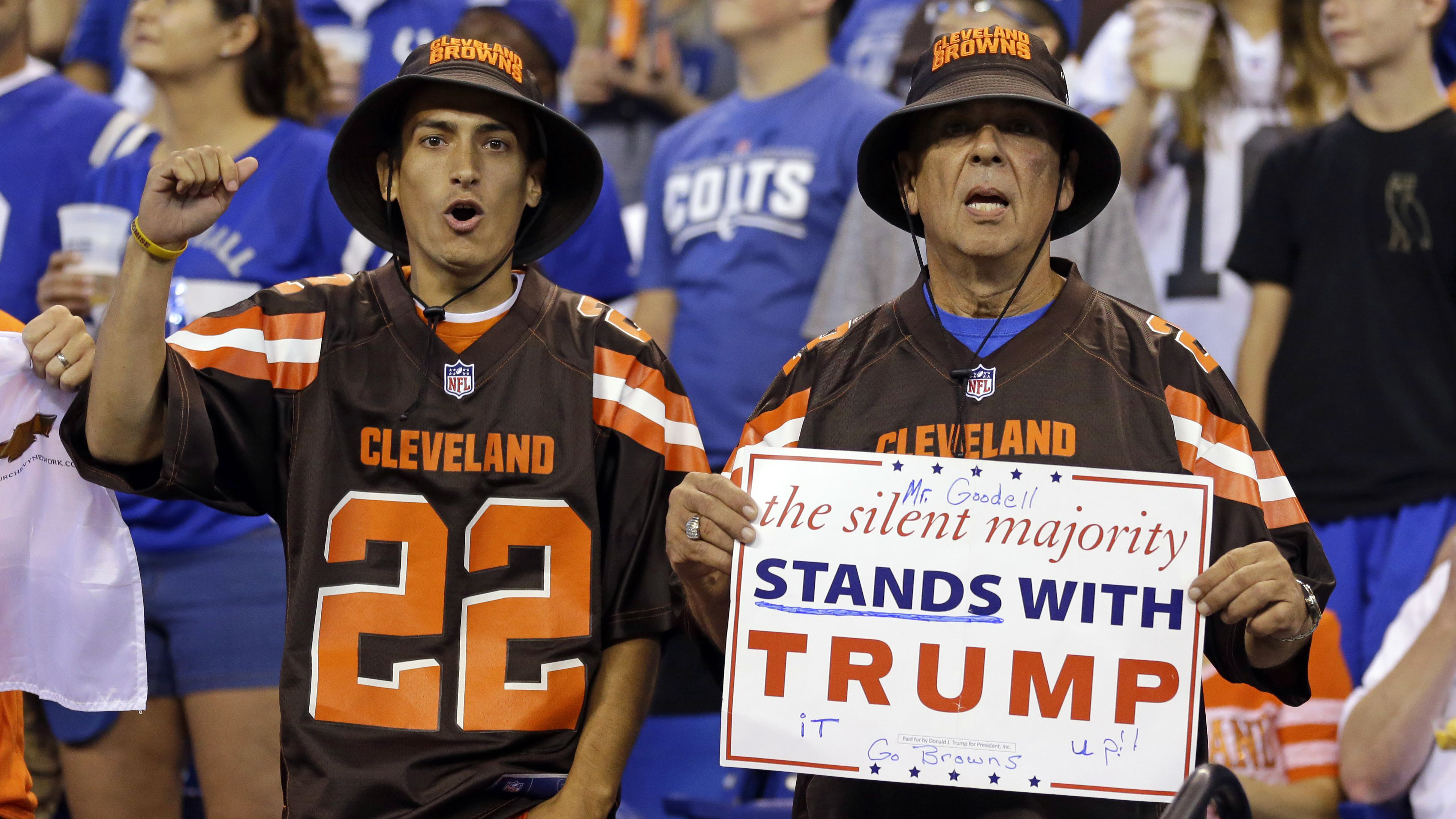 Browns fans who support Trump brought a sign to Lucas Oil Stadium.