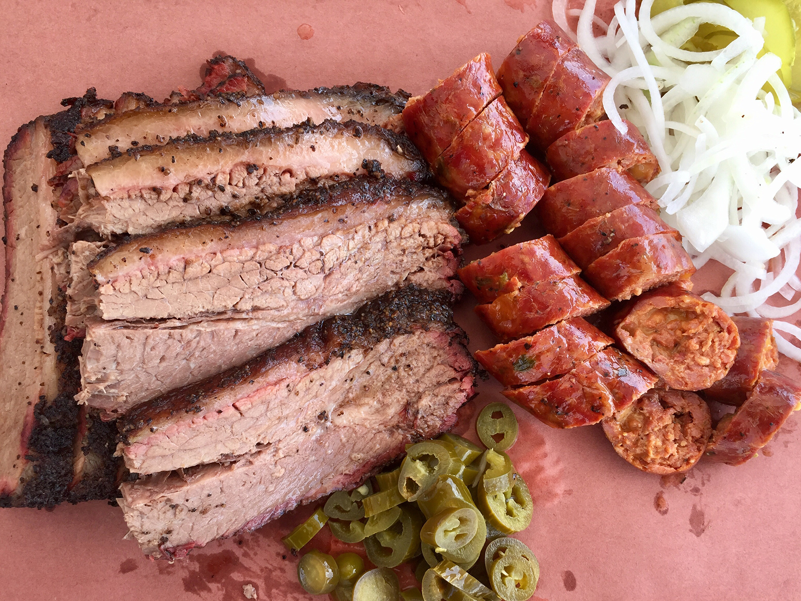 Guess Family Barbecue's brisket and jalapeño cheddar sausage.