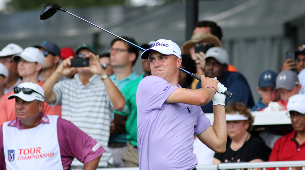 FedEx Cup winner Justin Thomas  tees off on the 10th hole during the final round of the Tour Championship.
