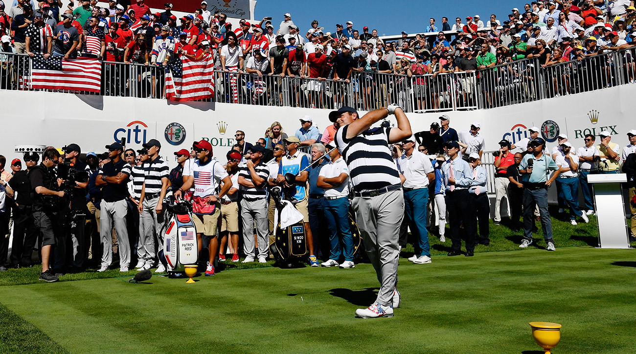 Patrick Reed tees off on the opening hole of the Presidents Cup on Thursday. Reed and Jordan Spieth won 5 and 4.