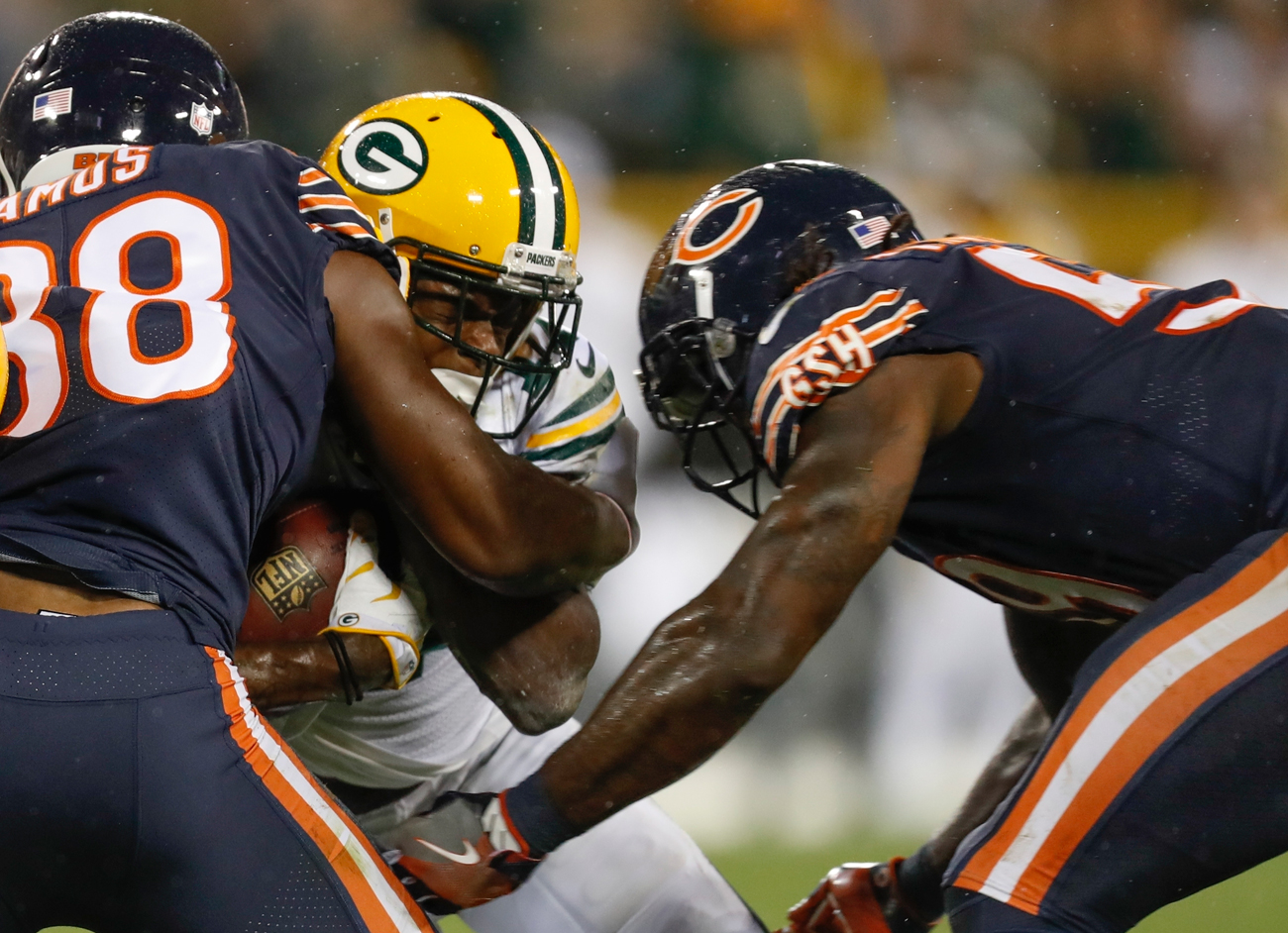 Bears linebacker Danny Trevathan was suspended two games for this helmet-to-helmet hit on Davante Adams.