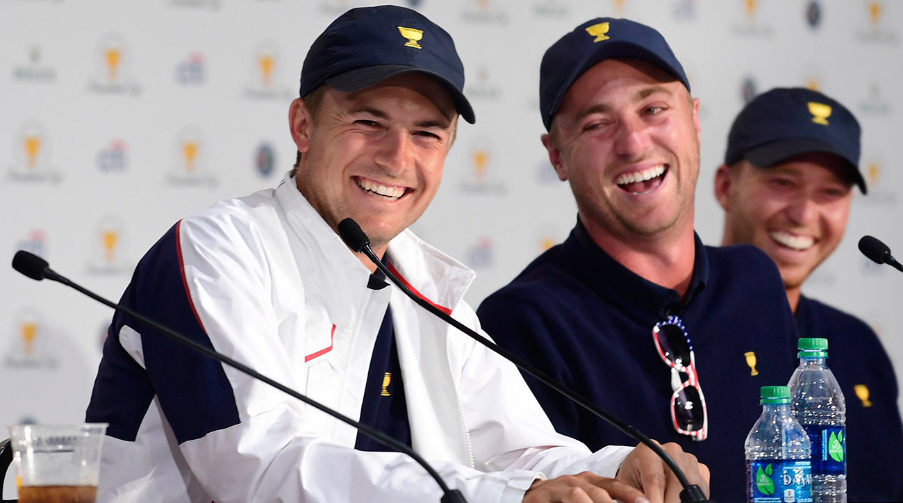Jordan Spieth and Justin Thomas laugh during their press conference on Sunday night.