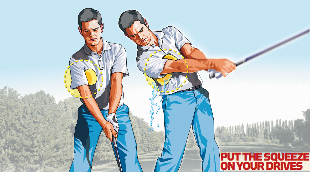 During your backswing and most of your downswing, apply just enough pressure to keep a sponge held under your right arm from falling out. But at impact, squeeze the sponge for all it's worth.