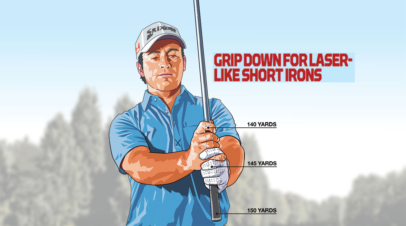 Choke down halfway on the grip to take 5 yards off your normal distance, or move your hands all the way down to the shaft to subtract ten yards from the shot.