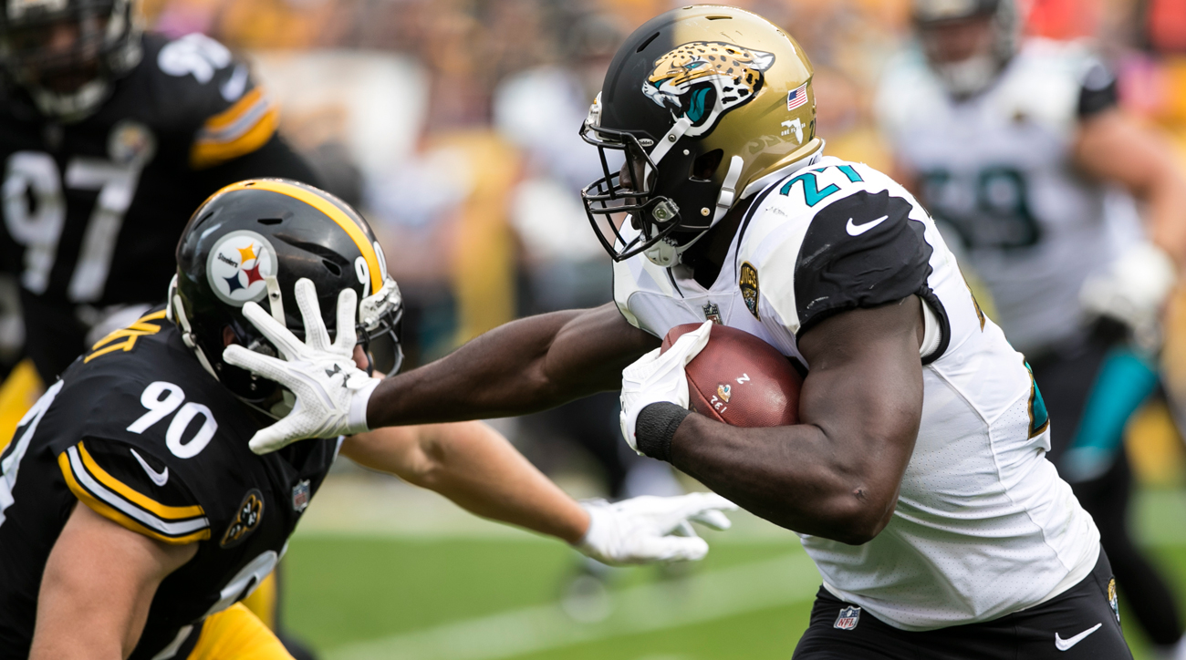 Leonard Fournette rushed 28 times for 181 yards for the Jaguars, who are alone in first place in the AFC South.