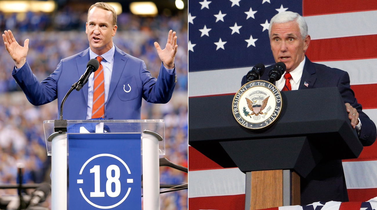 Vice President Mike Pence walked out of the 49ers-Colts game Sunday in Indianapolis, where Peyton Manning was being inducted into the team's ring of honor.