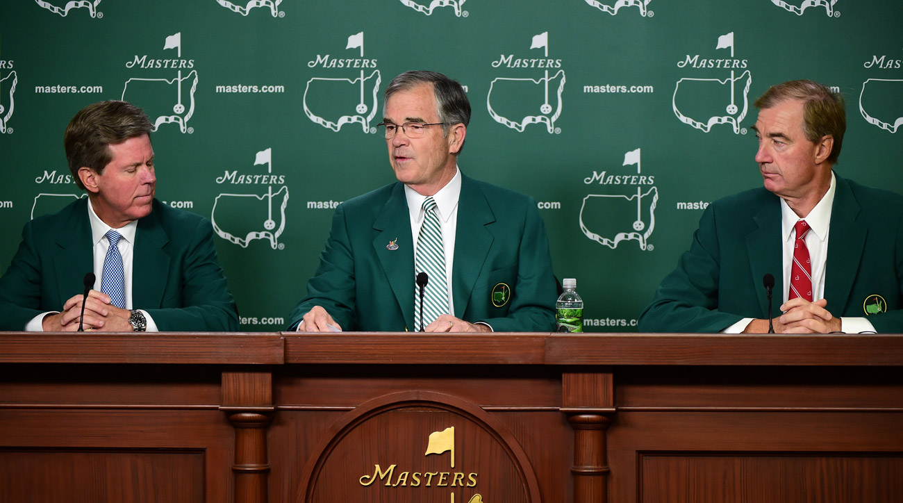 Fred Ridley, Billy Payne, and Craig Heatley speak to the media before the 2016 Masters.