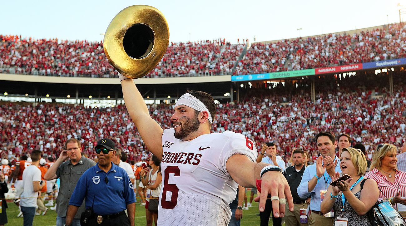 Oklahoma Football Baker Mayfield Leads Sooners Over Texas