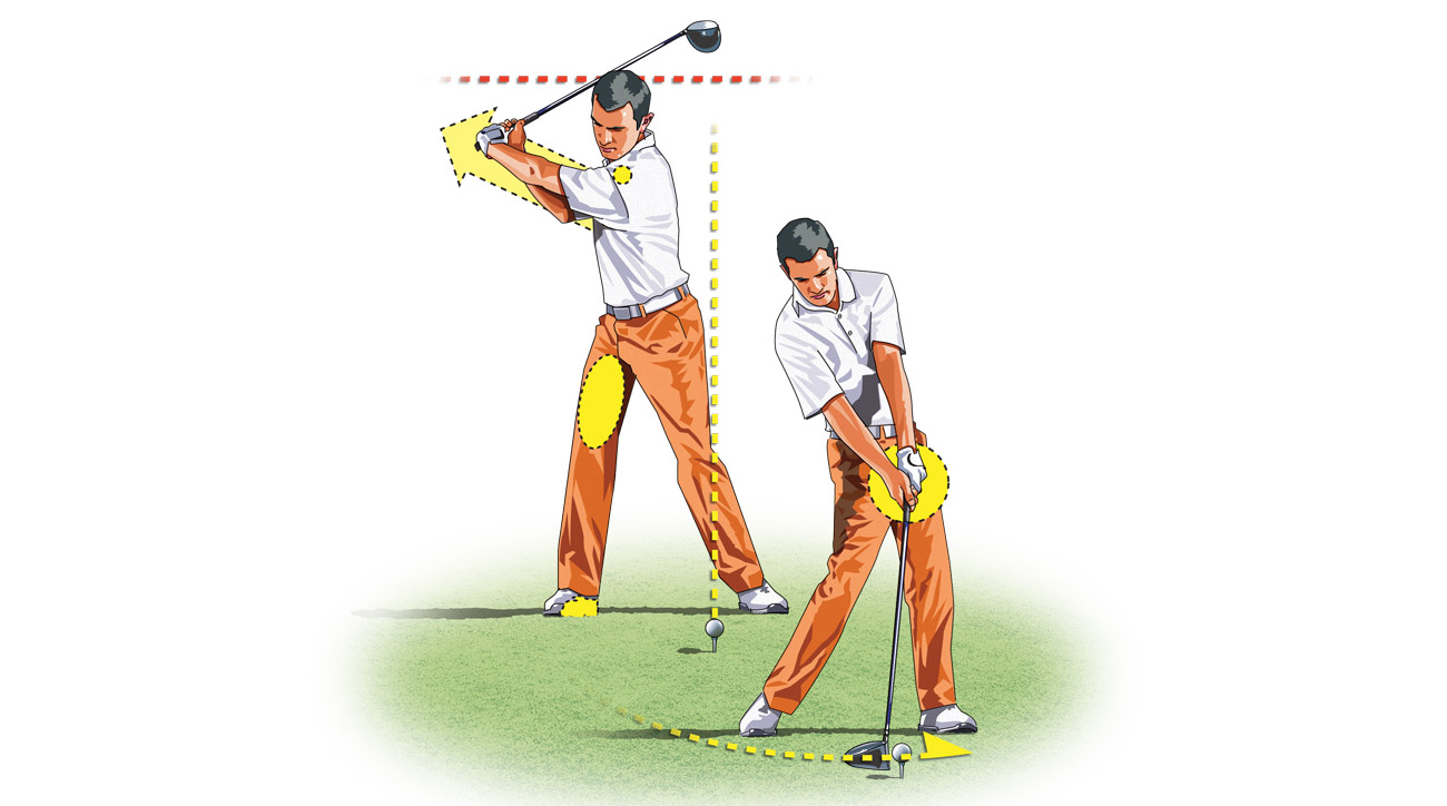 To shorten your backswing, load your weight into your right foot and thigh.