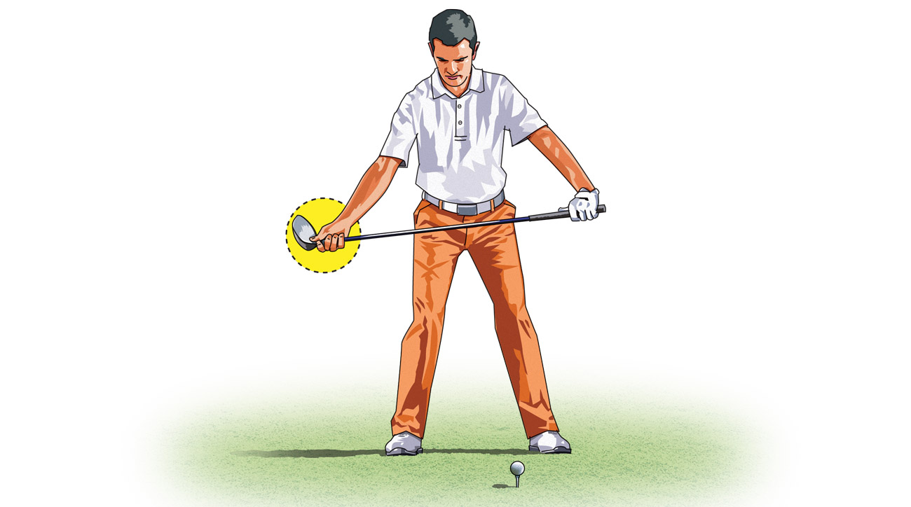 Hold your driver with your right hand on the hosel and your left hand on the grip.