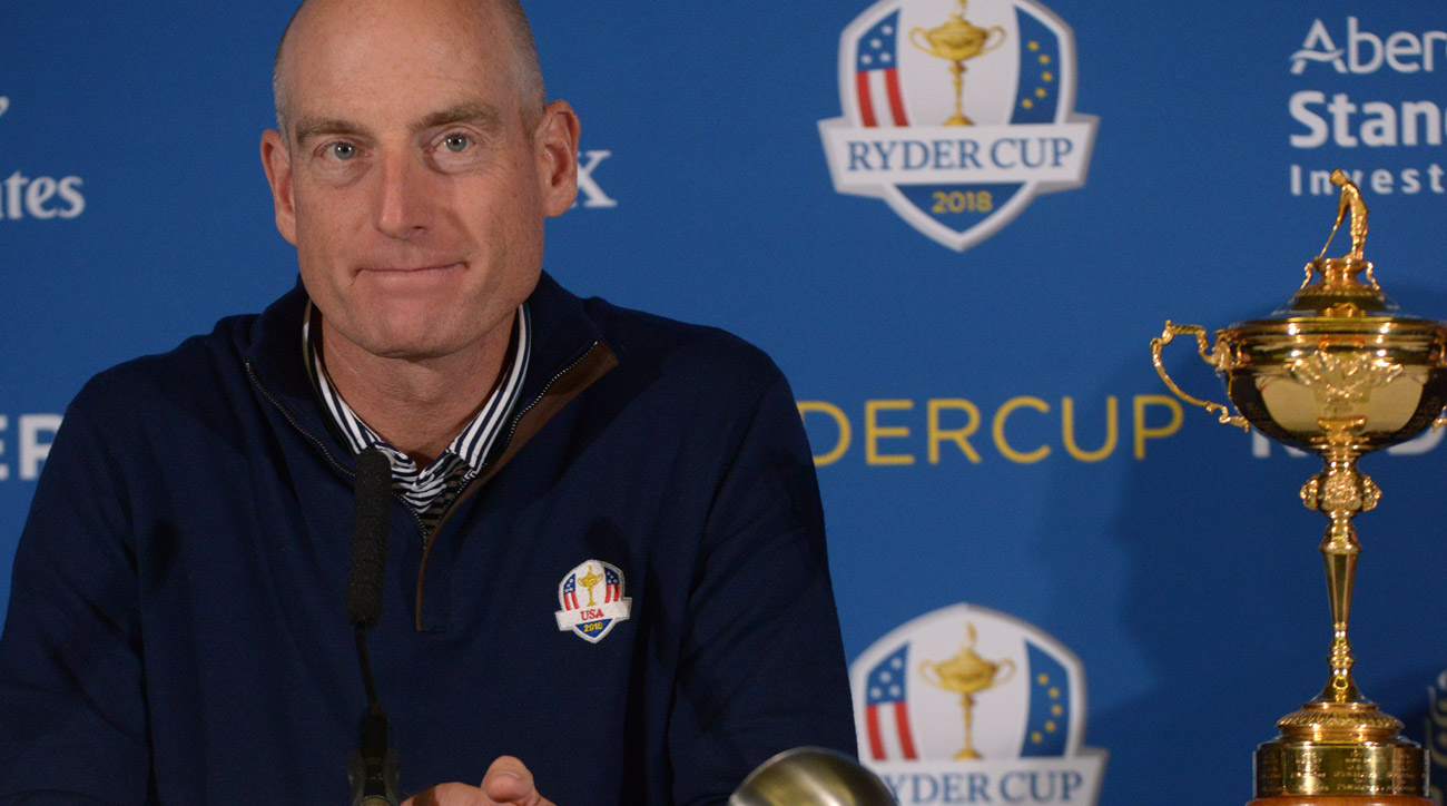 Jim Furyk speaks during a Ryder Cup 2018 Year to Go Captains Press Conference at the Pullman Paris Tour Eiffel Hotel.
