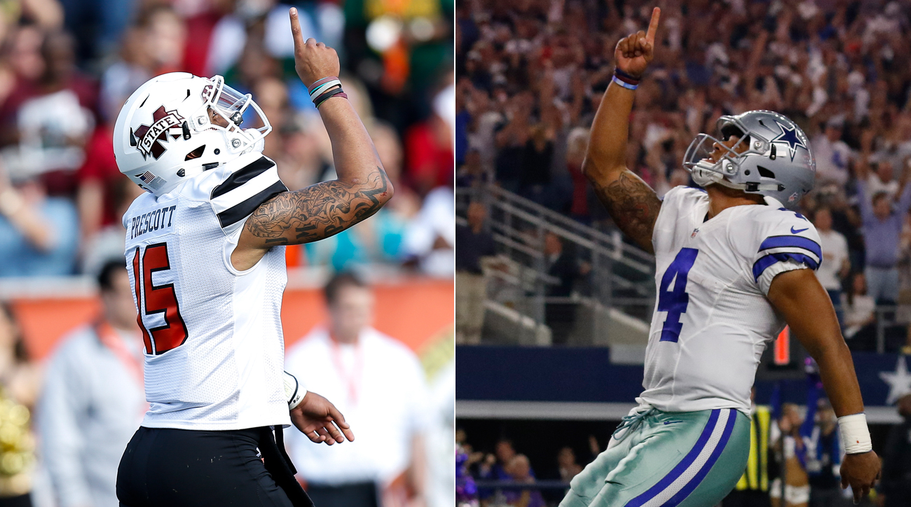 After touchdowns, Prescott points to the sky in memory of his mother, a tradition that began at Mississippi State and has continued with the Cowboys.