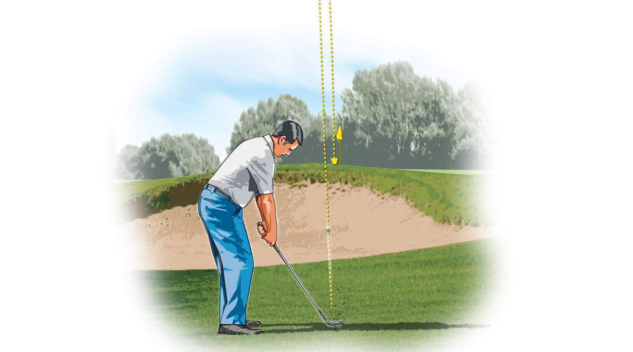 Your inclination when trying to hit a high, soft lob shot is to hit down on the ball, but the opposite is true: You need to let the clubhead pass your hands just before impact.