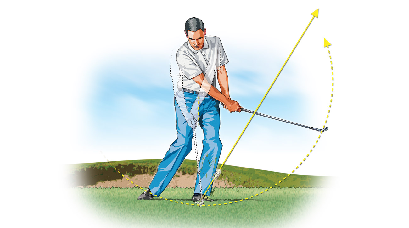 Your cupped left wrist and forward ball position will impart the extra loft you need.