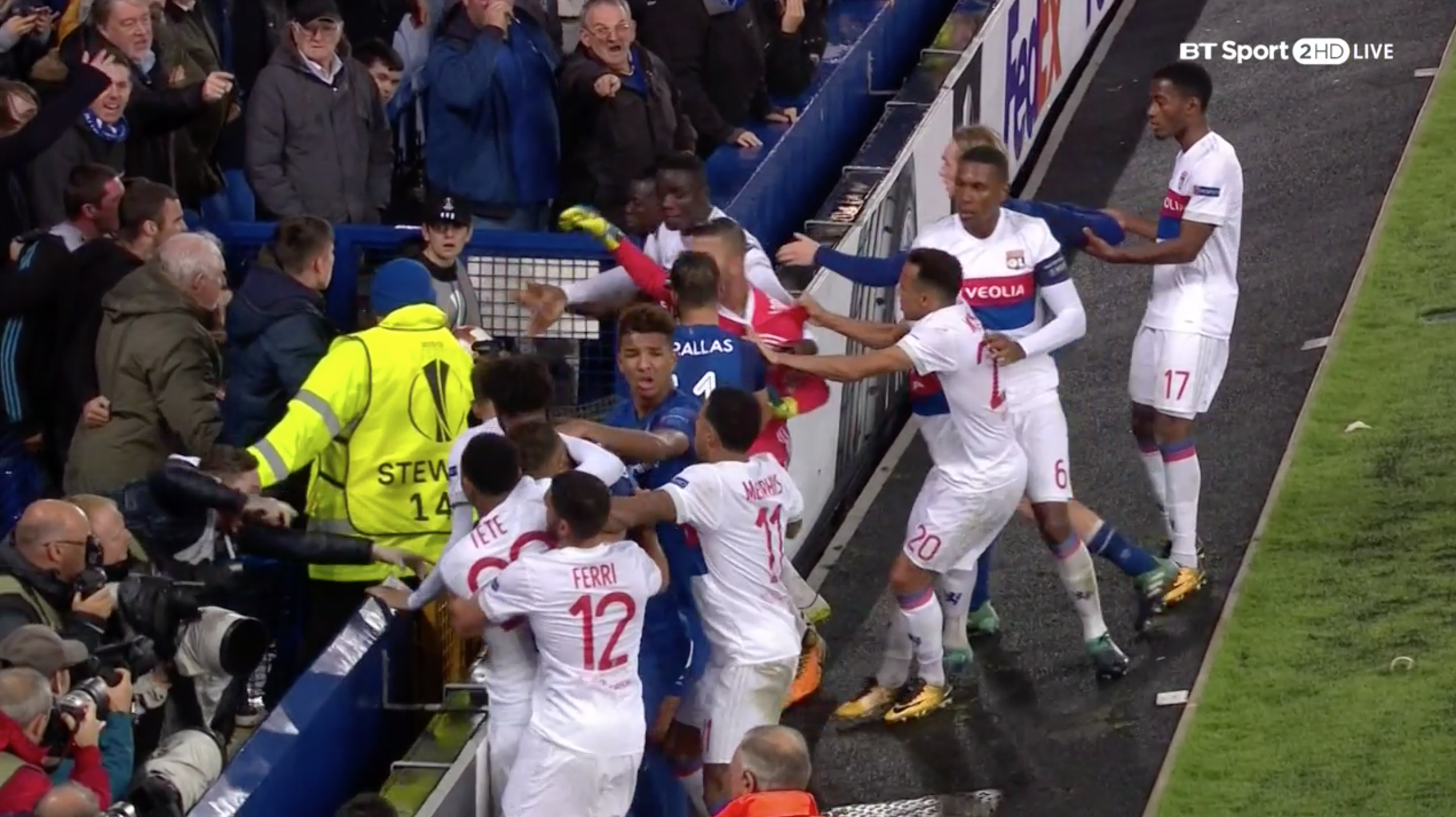 Everton Fans, Including Man With Baby, Jump in Fight With Lyon Players