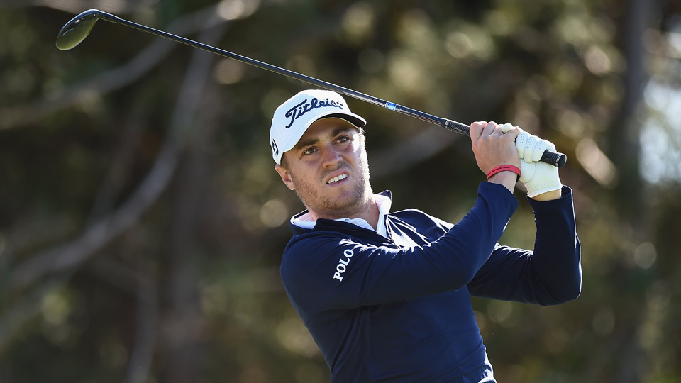 Justin Thomas battled the wind to share the lead at the CJ Cup with one round to go.