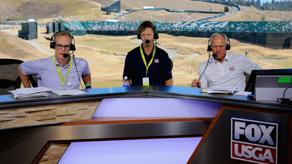 Joe Buck, Brad Faxon and Greg Norman rehearse ahead of the 2015 U.S. Open at Chambers Bay.