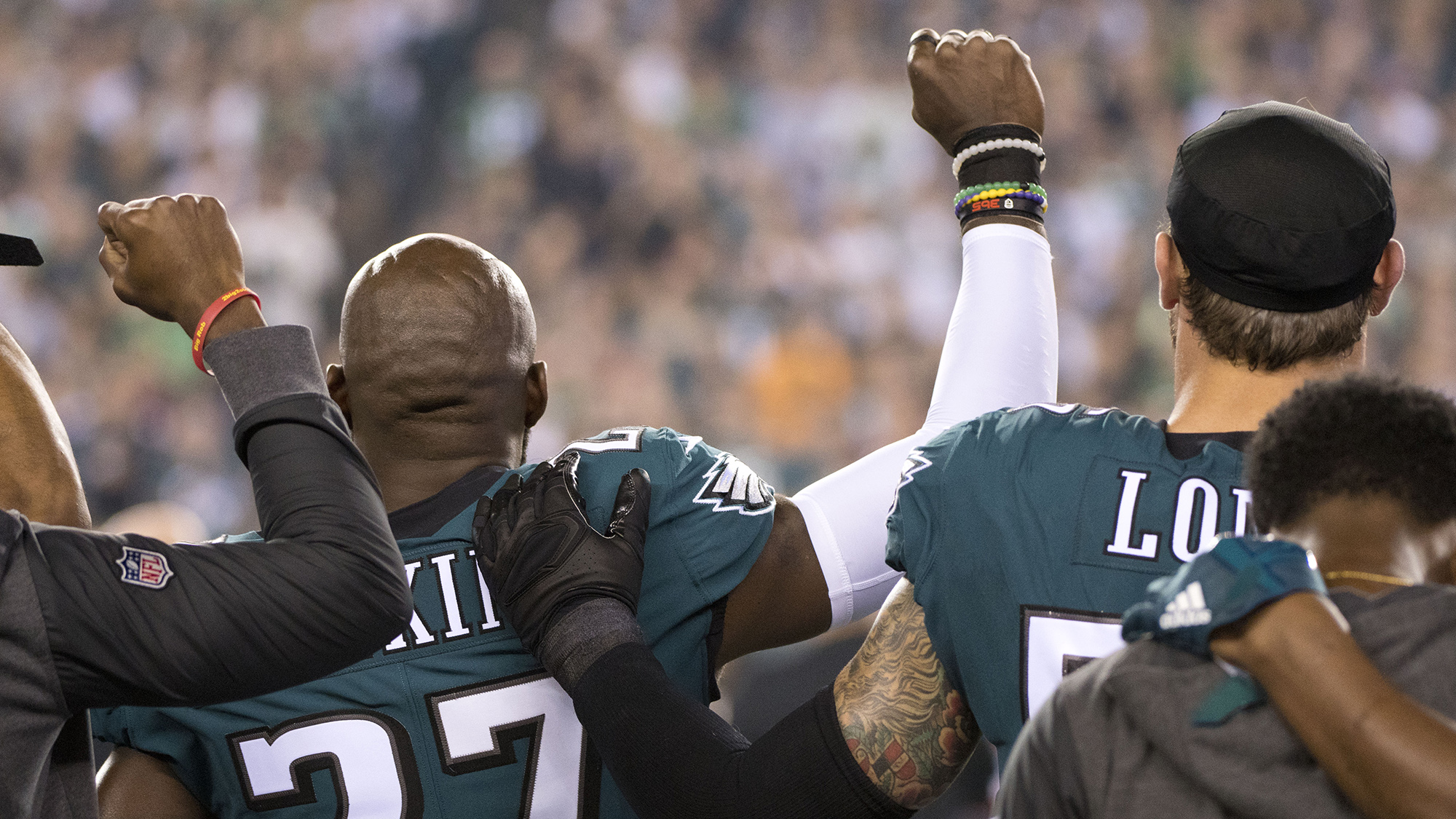 Malcolm Jenkins Chris Long Torrey Smith push for justice