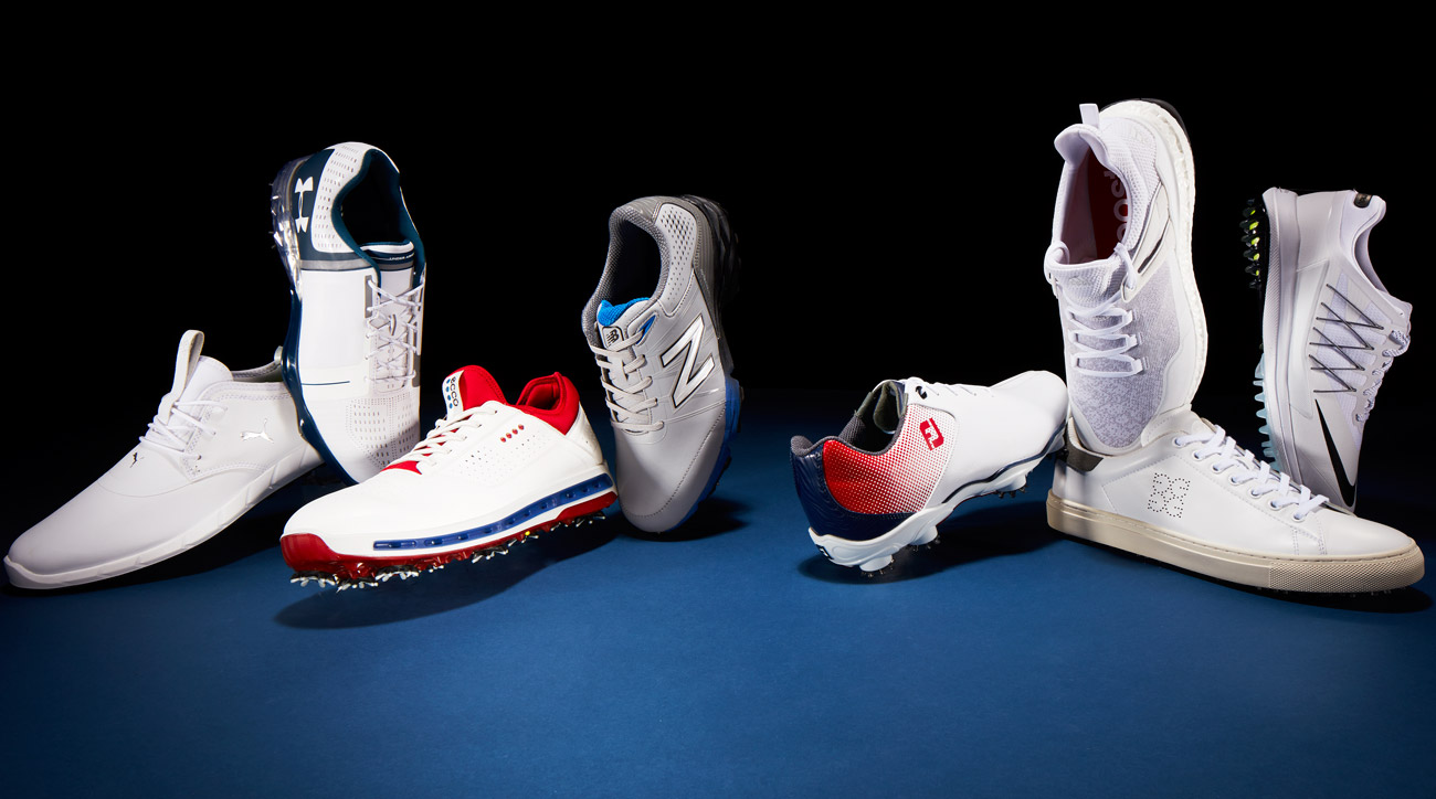Left to right: PUMA IGNITE SPIKELESS PRO; UNDER ARMOUR SPIETH ONE; ECCO COOL GTX; NEW BALANCE NBG2004; FOOTJOY DNA HELIX; ADIDAS CROSSKNIT BOOST; G/FORE DISRUPTOR; NIKE LUNAR CONTROL VAPOR.