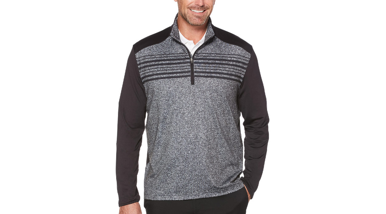 PGA Tour Stripe 1/4 Zip Printed Pullover.