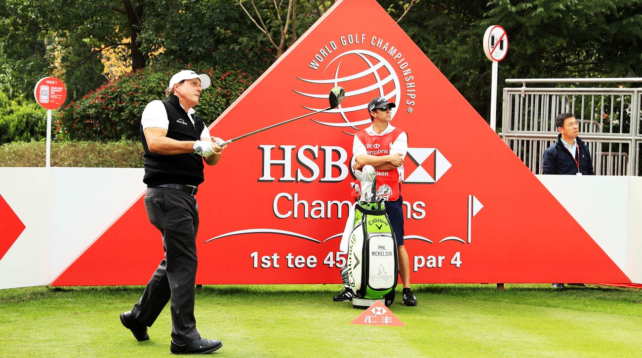 Phil Mickelson plays a shot during the pro-am prior to the WGC - HSBC Champions at Sheshan International Golf Club.