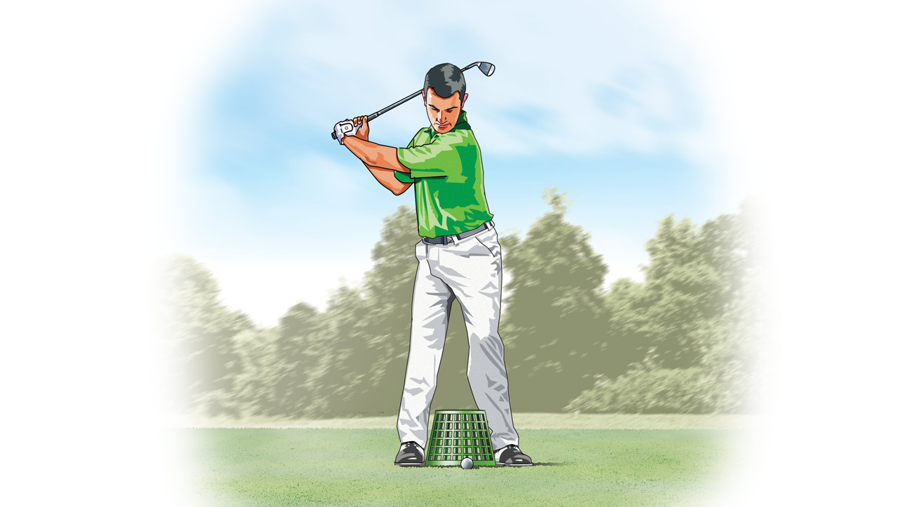 The next time you hit balls, place an empty range bucket between your feet. Bring your legs together until each ankle is touching one side of the bucket.
