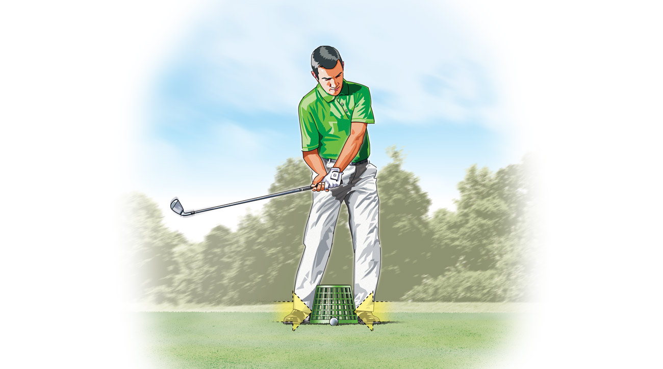 Now make a few practice swings, concentrating on maintaining contact between the bucket and your ankles and your feet and the ground.