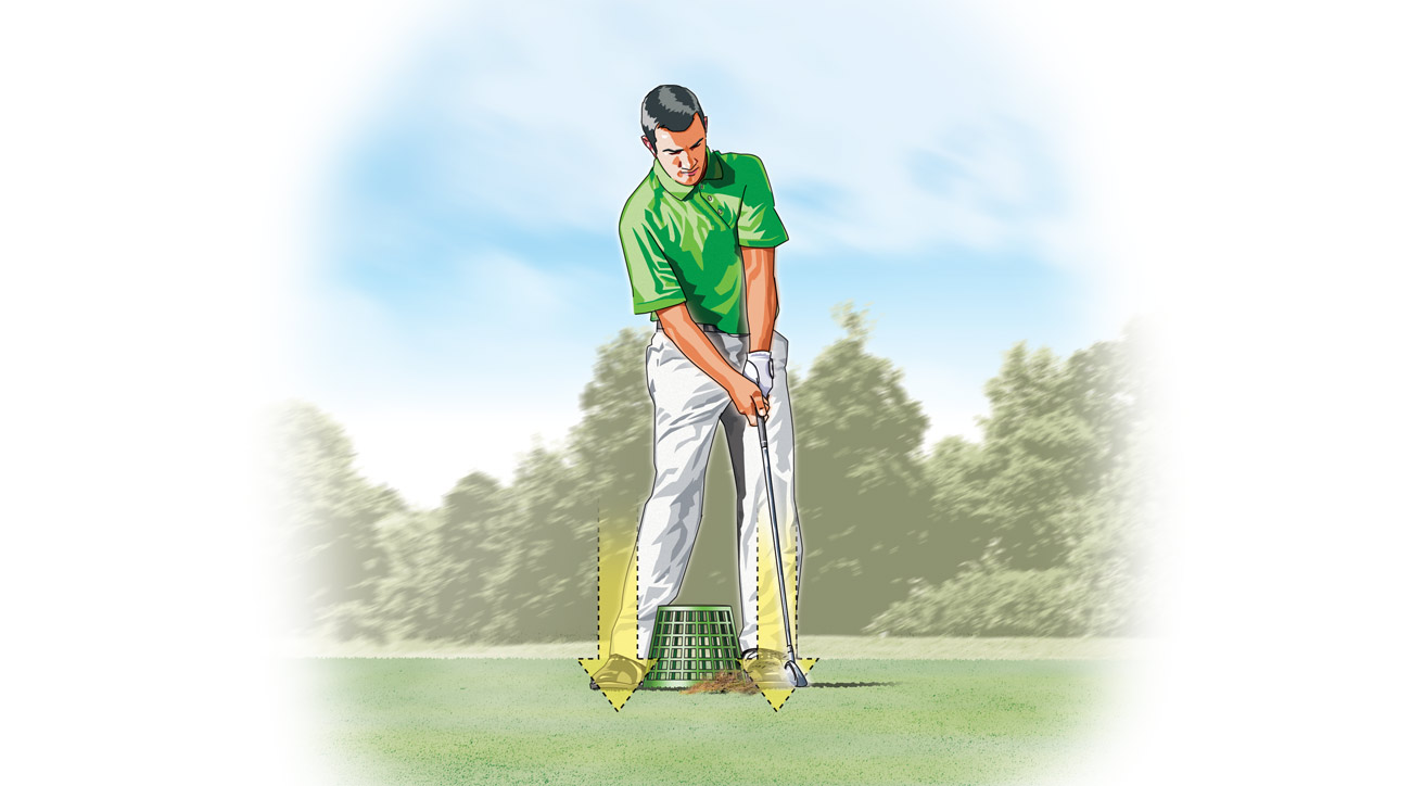Add a ball to the mix and hit some real shots. You can't take the bucket with you when you play, but the feeling of connection will greatly improve your ballstriking and consistency.
