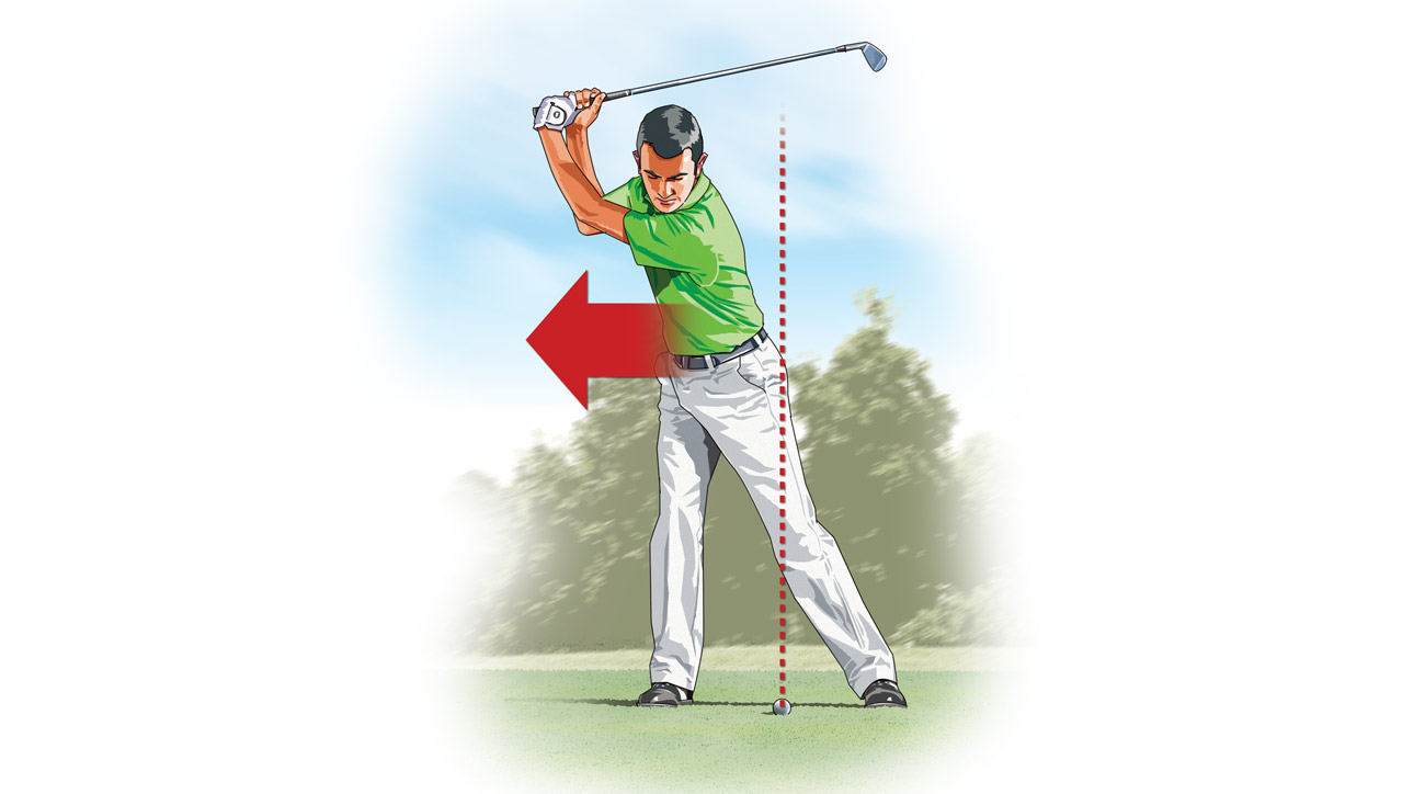 In an attempt to create more power, you allow your body to sway behind the ball (away from the target) on the backswing.
