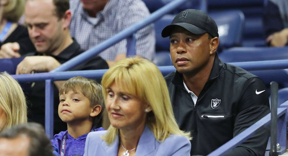 Tiger and his son Charlie Axel Woods attend Day 12 of the 2017 U.S. Open (tennis).