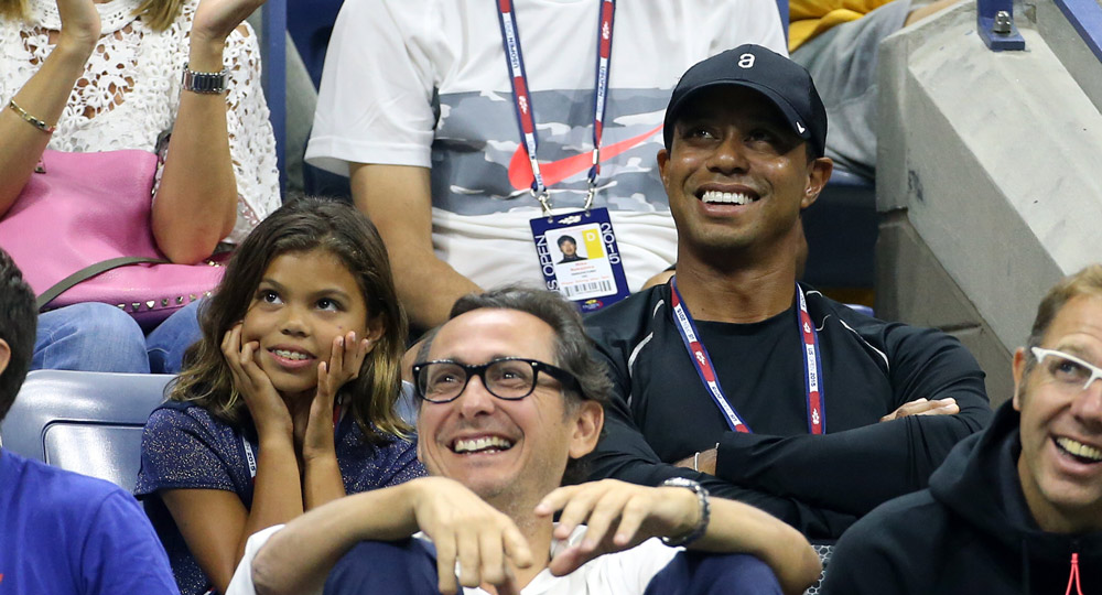 Tiger and his daughter, Sam, attend Day 5 of the 2015 U.S. Open in Rafael Nadal's box to watch his match against Fabio Fognini.