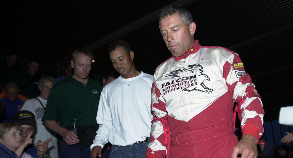 Tiger even supported his caddie, Steve Williams, by watching Williams race his dirt-track stock car at the Palmerston North Showgrounds in 2002.