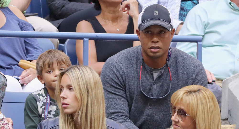 Tiger watches the Men's Singles finals match between Kevin Anderson and Rafael Nadal of Spain on Day 14 of the 2017 U.S. Open.