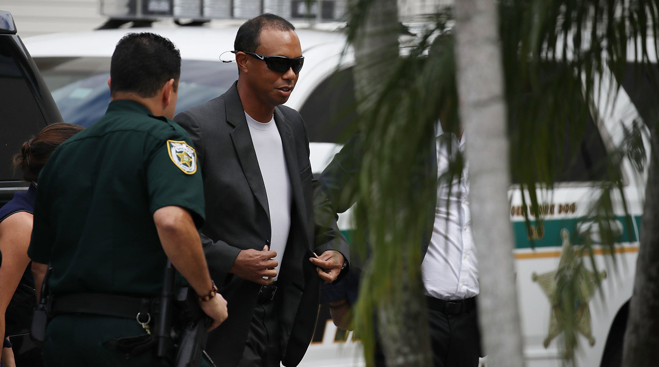 Woods arrives Friday at the Palm Beach County Courthouse for a DUI hearing