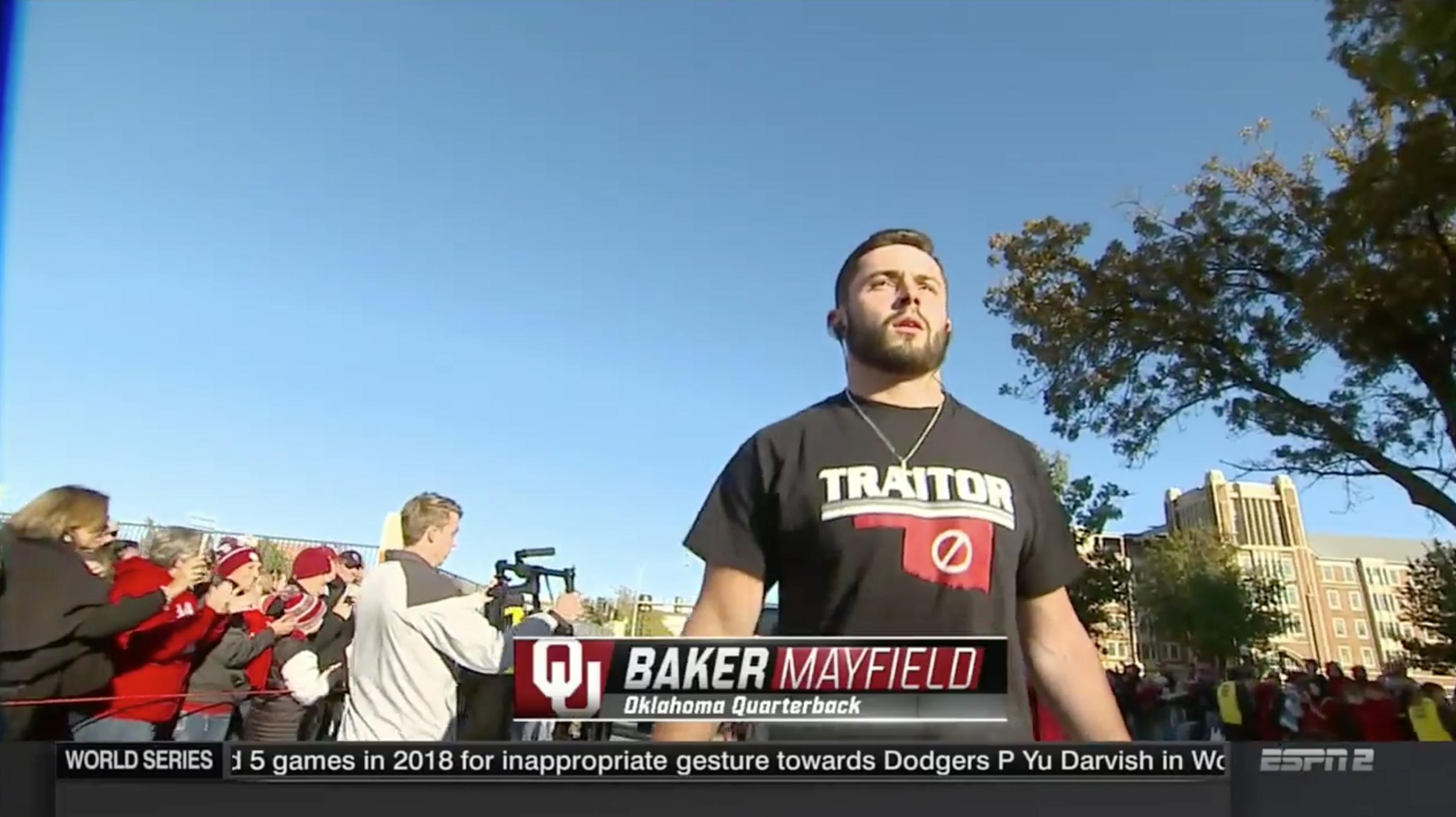 a18cfc55c42 Baker Mayfield shirt  Oklahoma QB trolls Texas Tech fans